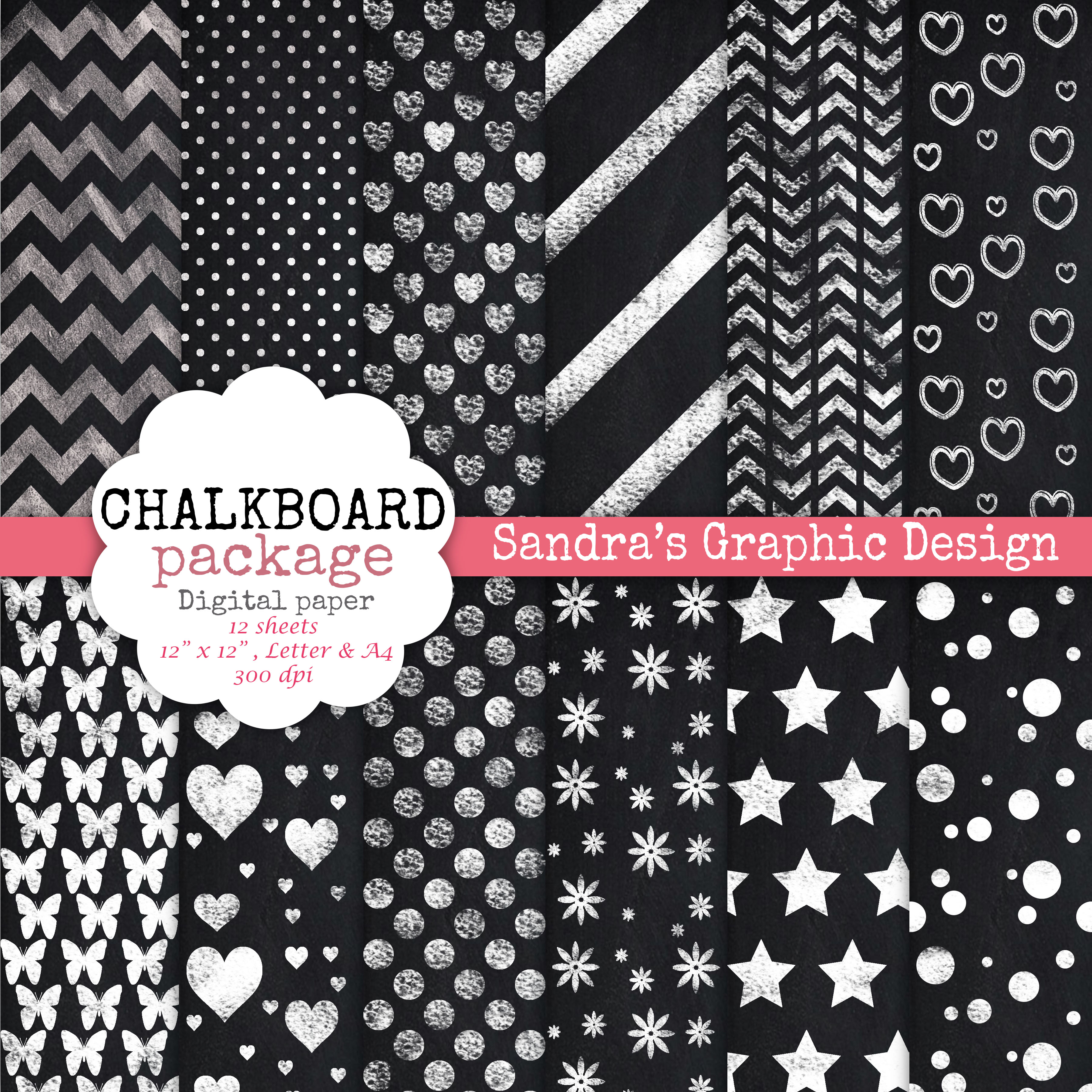 trendy chalkboard digital papers free items included