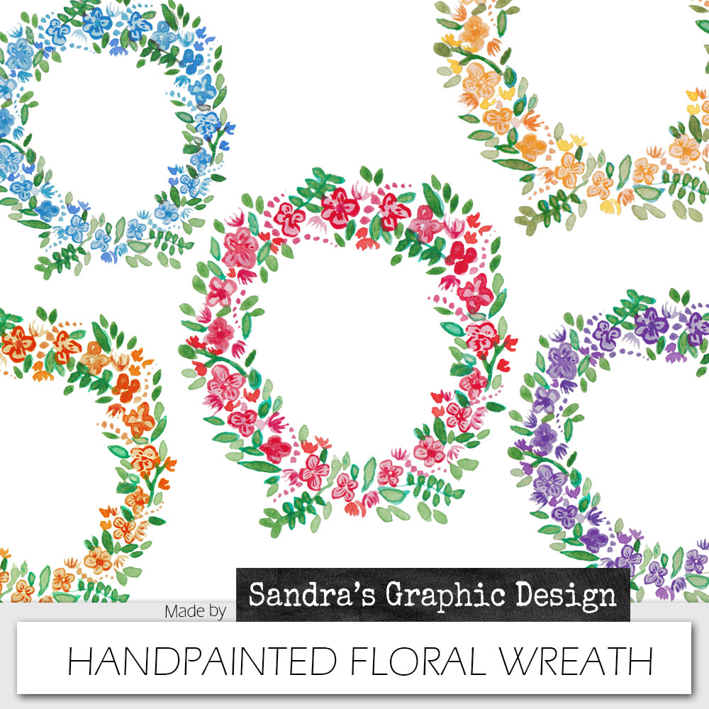 Romantic clipart: Handpainted floral wreath | Sandra's Art Studio and ...