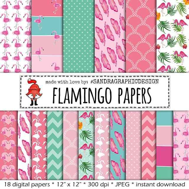 my new digital paper pack flamingo etsy sandragraphicdesign